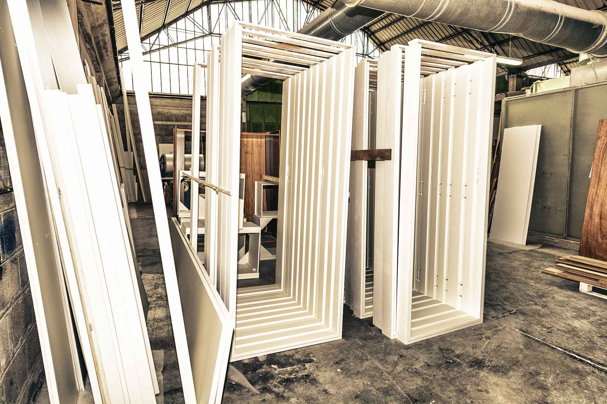 Door frames stacked